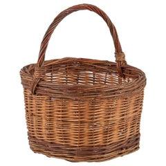 French Round Wicker Basket, 20th Century