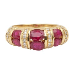 French Rubies Diamonds 18 Carat Yellow Gold Ring