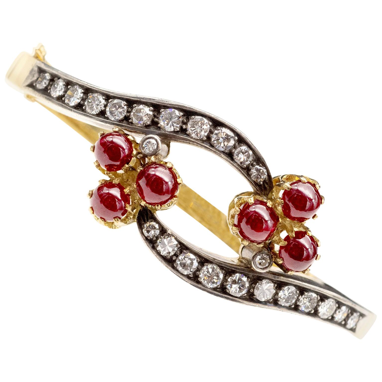 French Ruby Diamond 18 Karat Gold Bracelet