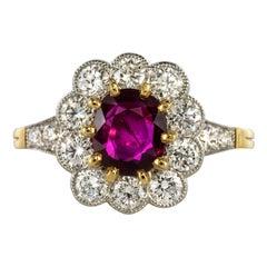 French Ruby Diamond 18 Karat Yellow Gold Platinum Daisy Ring