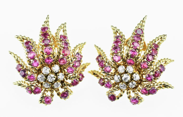 Retro French Ruby, Diamond Demi Parure by Verger Freres 'Cartier, Van Cleef & Arpels' For Sale