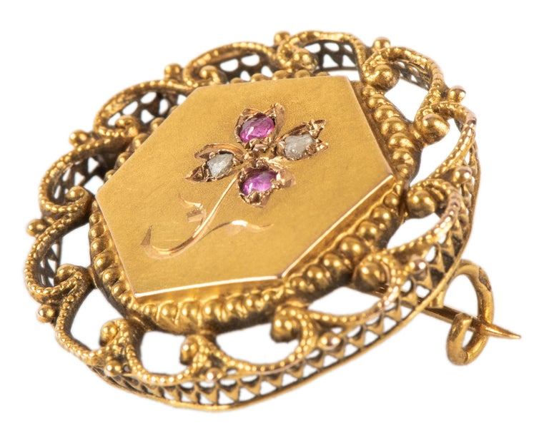 Empire French Ruby Diamond Gold Pin, 19th Century For Sale