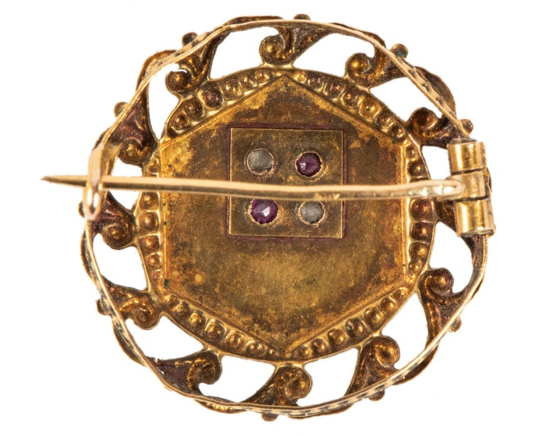 Rose Cut French Ruby Diamond Gold Pin, 19th Century For Sale