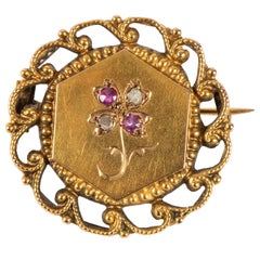 French Ruby Diamond 18k Gold Pin, 19th Century