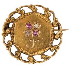 French Ruby Diamond Gold Pin, 19th Century