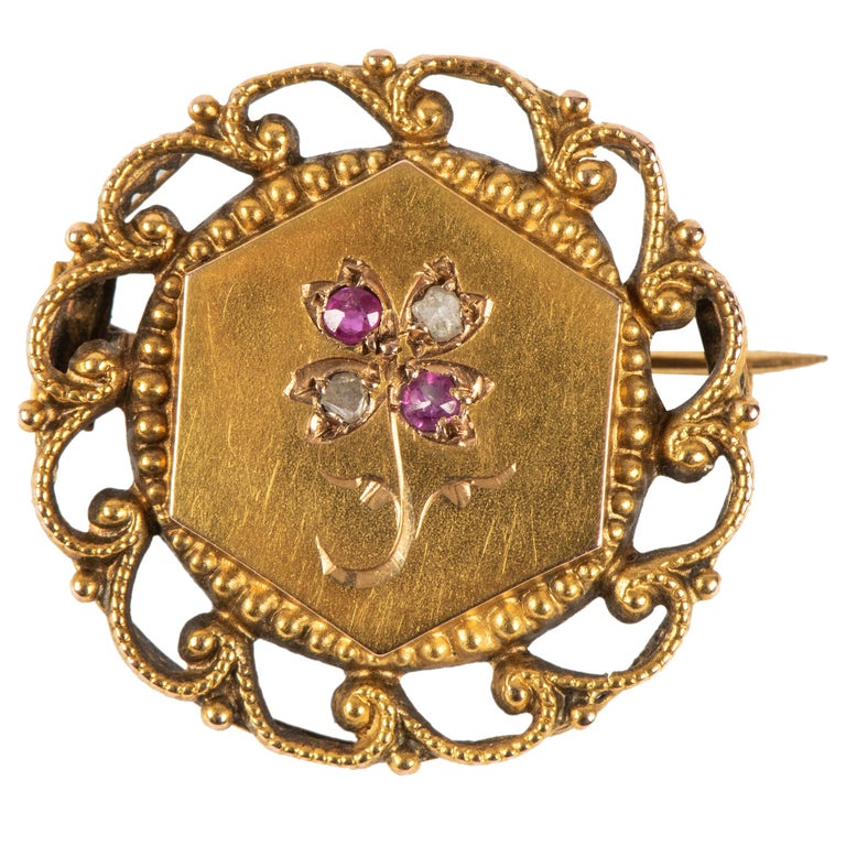 French Ruby Diamond Gold Pin, 19th Century For Sale