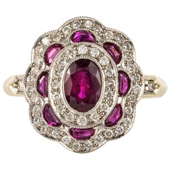 French Ruby Diamonds 18 Karat Yellow Gold Cluster Ring