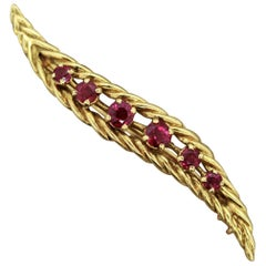 French Ruby Gold Feather Pin-Brooch