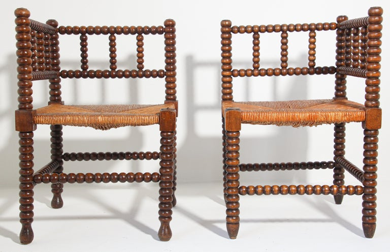 Hand-Crafted French Rush-Seat Corner Chairs in Turned Oak and Cane, France For Sale