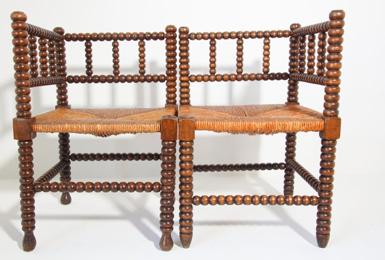 19th Century French Rush-Seat Corner Chairs in Turned Oak and Cane, France For Sale