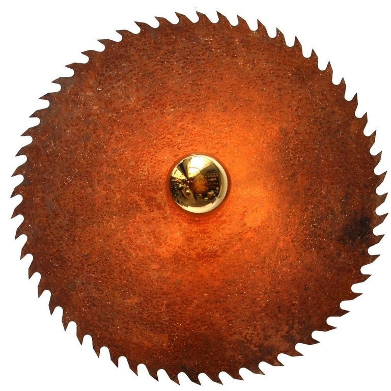 Large vintage French saw blade light.  Priced per individual item. All lamps have been made suitable by international standards for incandescent light bulbs, energy-efficient and LED bulbs. E26/E27 bulb holders and new wiring are CE certified or