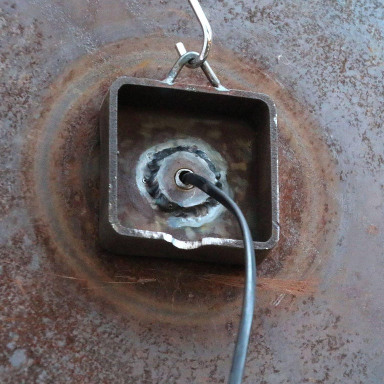 20th Century French Rust Vintage Industrial Saw Blade Scone Wall Light  For Sale