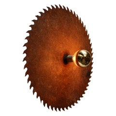 French Rust Vintage Industrial Saw Blade Scone Wall Light