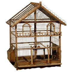 French Rustic 1860s Napoléon III Wooden Birdcage with Scrolling Metal Motifs
