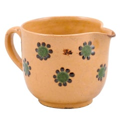 French Rustic 19th Century Peach Glazed Pitcher with Green and Chocolate Décor