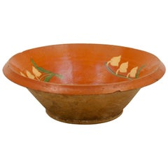 French Rustic 19th Century Redware Deep Bowl with Lily of the Valley Décor