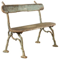 French Rustic Faux-Bois Iron Garden Bench from the Late 19th Century