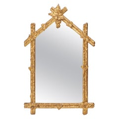 French Rustic Giltwood Arch Top Mirror, c.1880