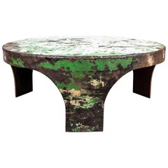 French Rustic Metal Round Coffee Table with Heavy Patina
