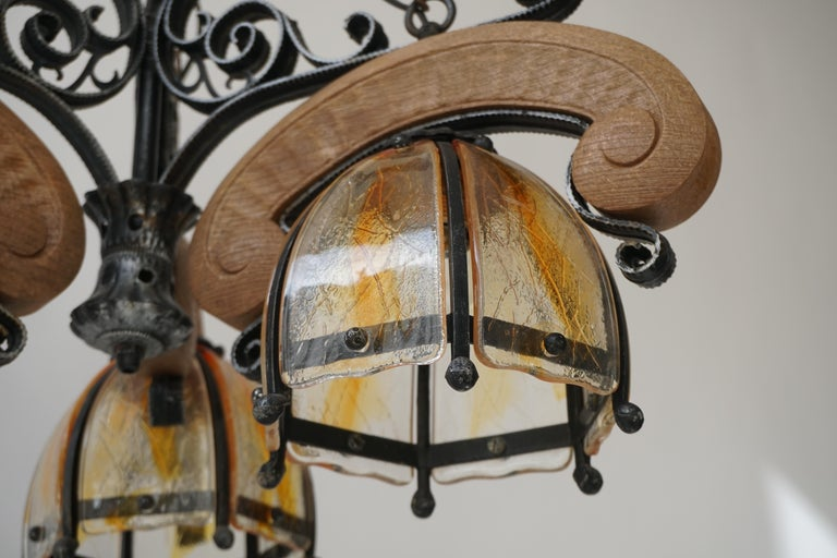 French Rustic Wood and Glass Chandelier For Sale 5