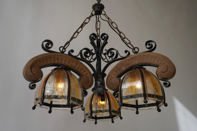 French Rustic Wood and Glass Chandelier For Sale 6