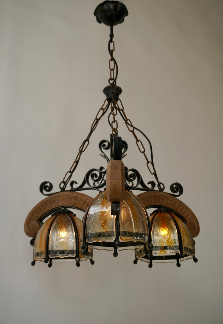 French Rustic Wood and Glass Chandelier For Sale 8