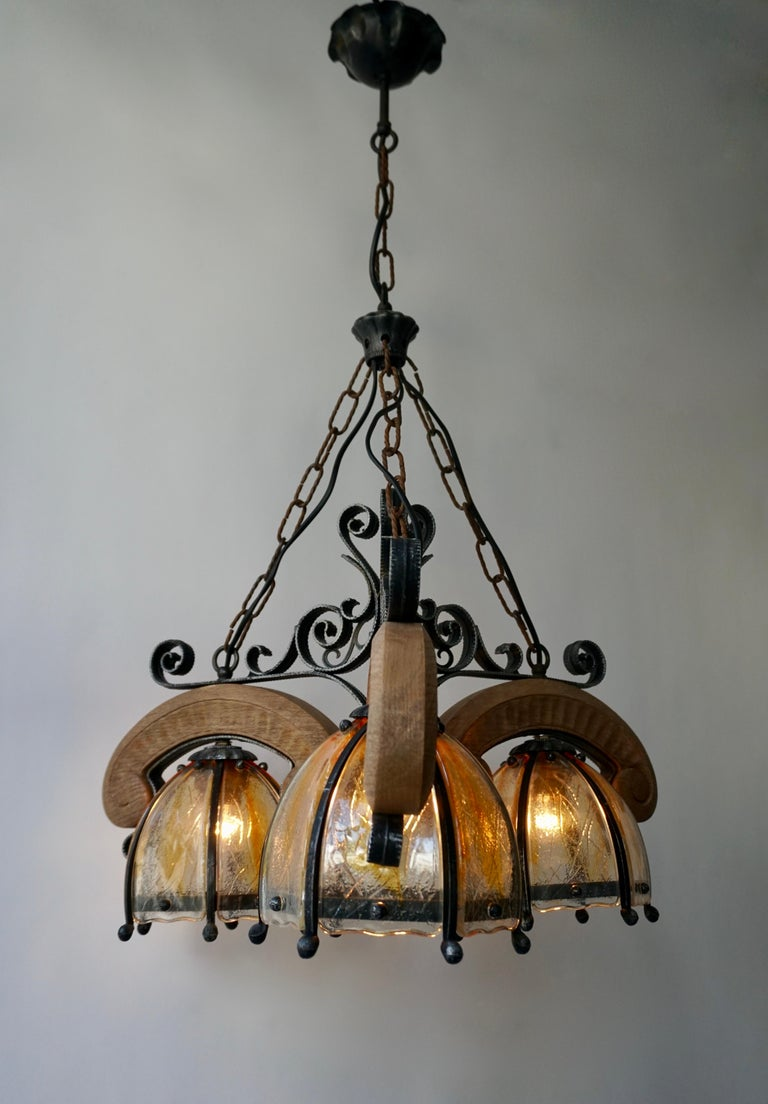 French Rustic Wood and Glass Chandelier For Sale 10