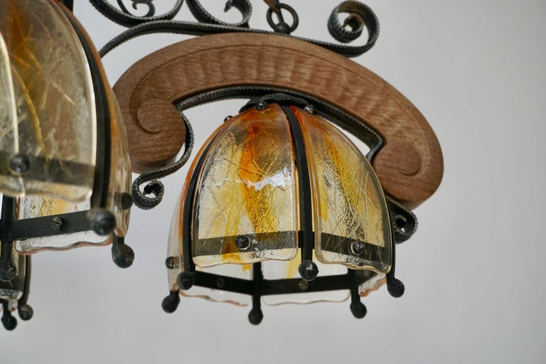 French Rustic Wood and Glass Chandelier For Sale 11