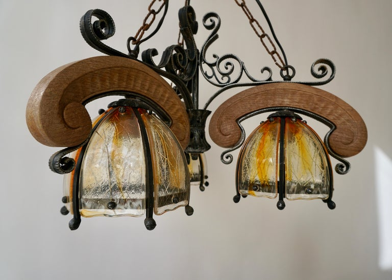 French Rustic Wood and Glass Chandelier For Sale 14