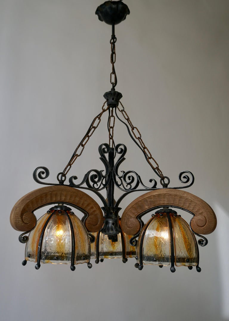 Belgian French Rustic Wood and Glass Chandelier For Sale