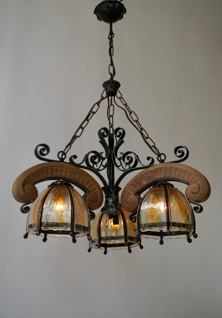 French Rustic Wood and Glass Chandelier For Sale 1