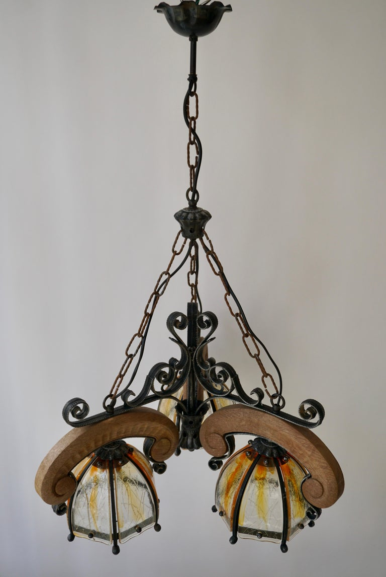 French Rustic Wood and Glass Chandelier For Sale 3