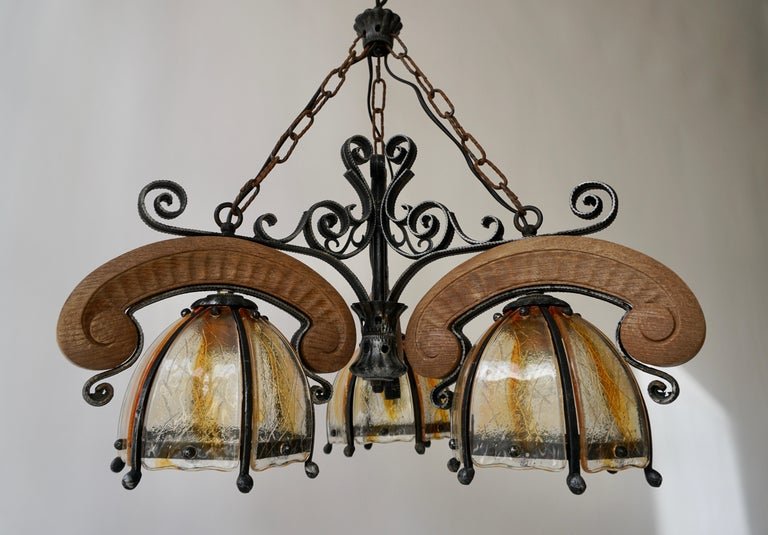 French Rustic Wood and Glass Chandelier For Sale 4