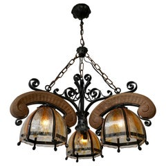 French Rustic Wood and Glass Chandelier