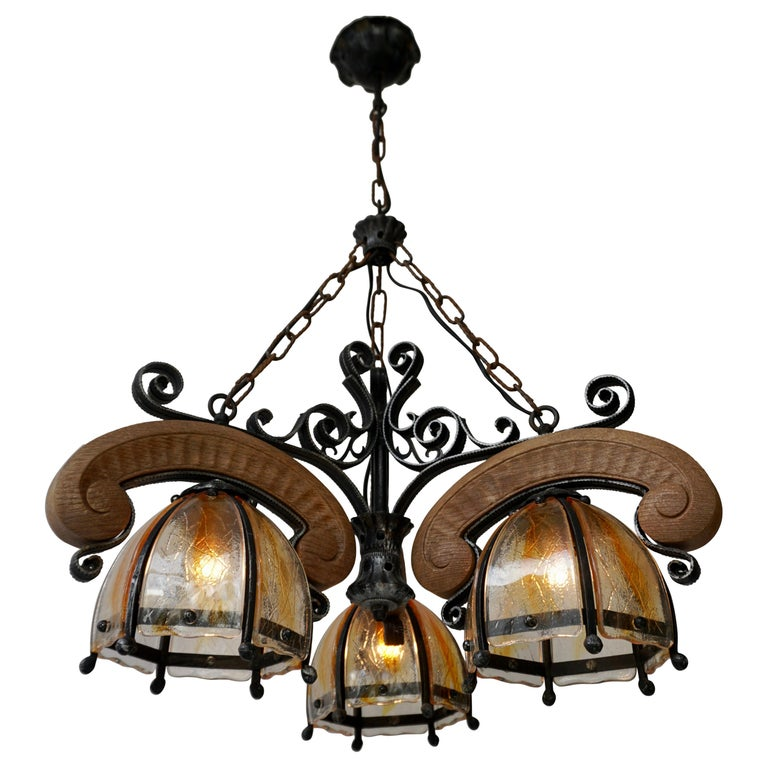French Rustic Wood and Glass Chandelier For Sale