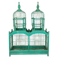 French Rustic Wood and Metal Celadon Green Pagoda Double Domed Birdcage, 1800s