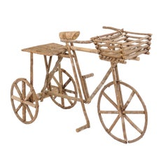 French Rustic Wooden Tricycle Garden Decorative Ornament from the 1970s