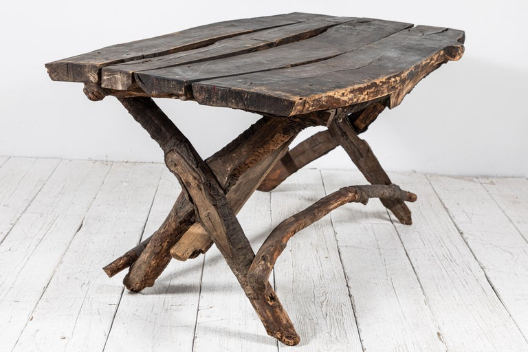 French Rustic Wooden Twig Table In Good Condition For Sale In Los Angeles, CA