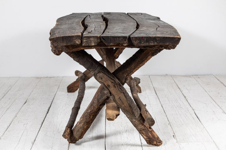 Mid-20th Century French Rustic Wooden Twig Table For Sale