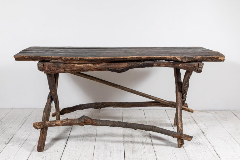 French Rustic Wooden Twig Table For Sale 1