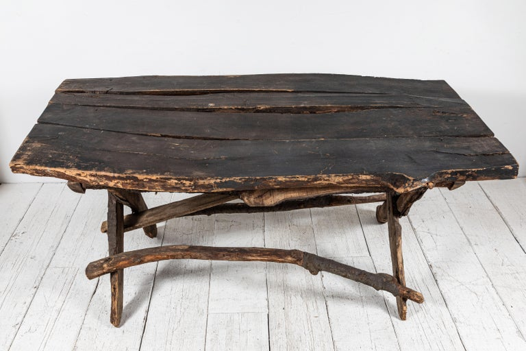 French Rustic Wooden Twig Table For Sale 2