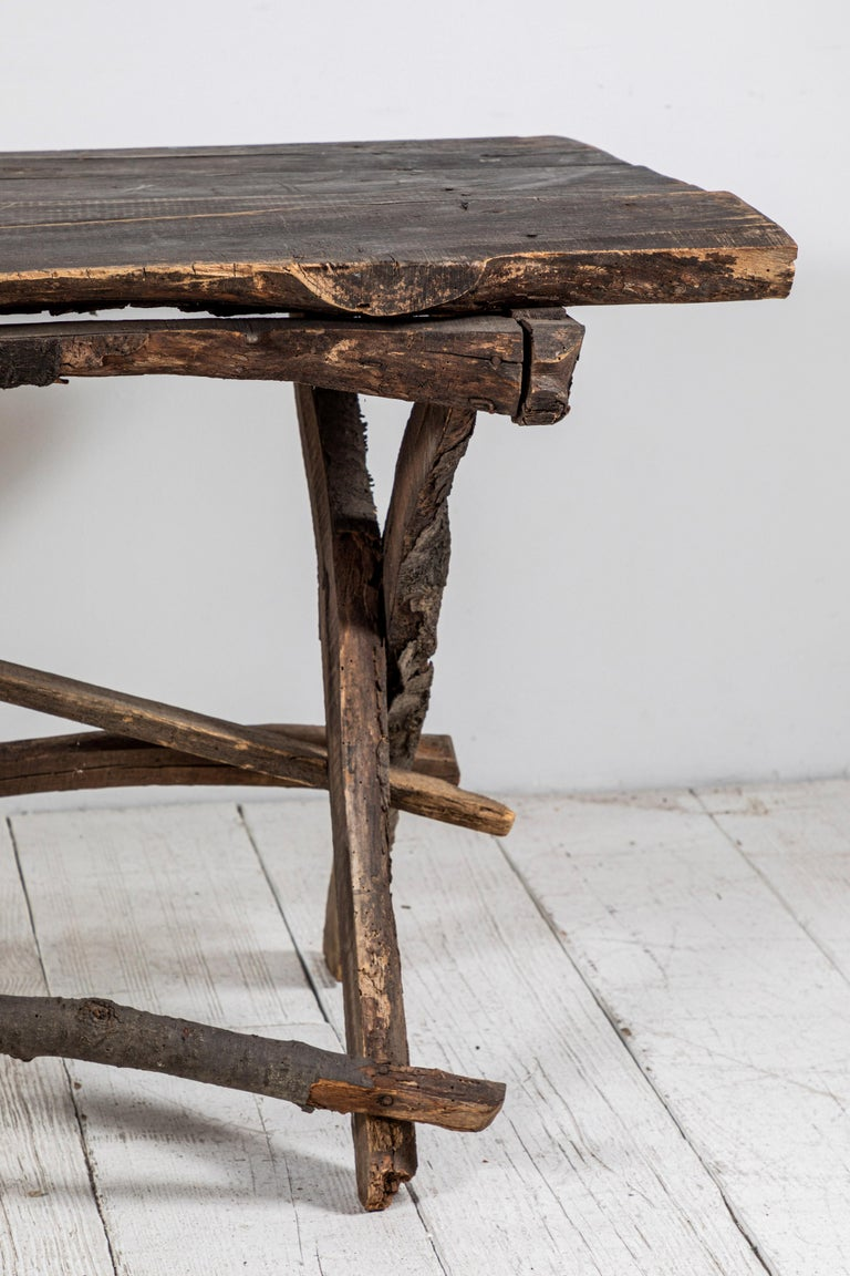 French Rustic Wooden Twig Table For Sale 4