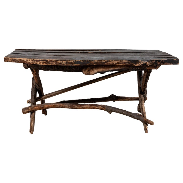 French Rustic Wooden Twig Table For Sale