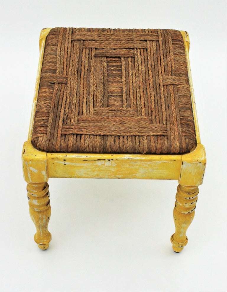 French Rustic Yellow Patinated Wood and Esparto Grass Stool, Bench or Ottoman For Sale 5