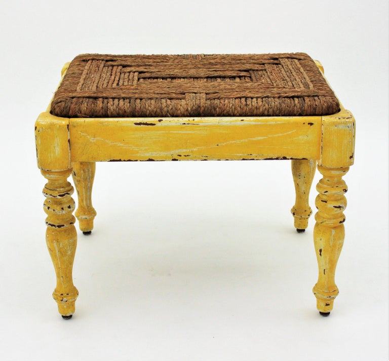 One of a kind turned wood stool in yellow patina with straw esparto grass woven seat, France, 1930s.