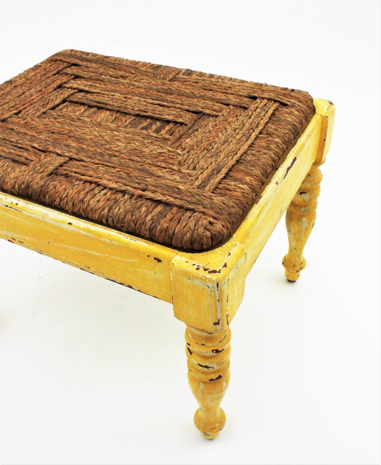 20th Century French Rustic Yellow Patinated Wood and Esparto Grass Stool, Bench or Ottoman For Sale