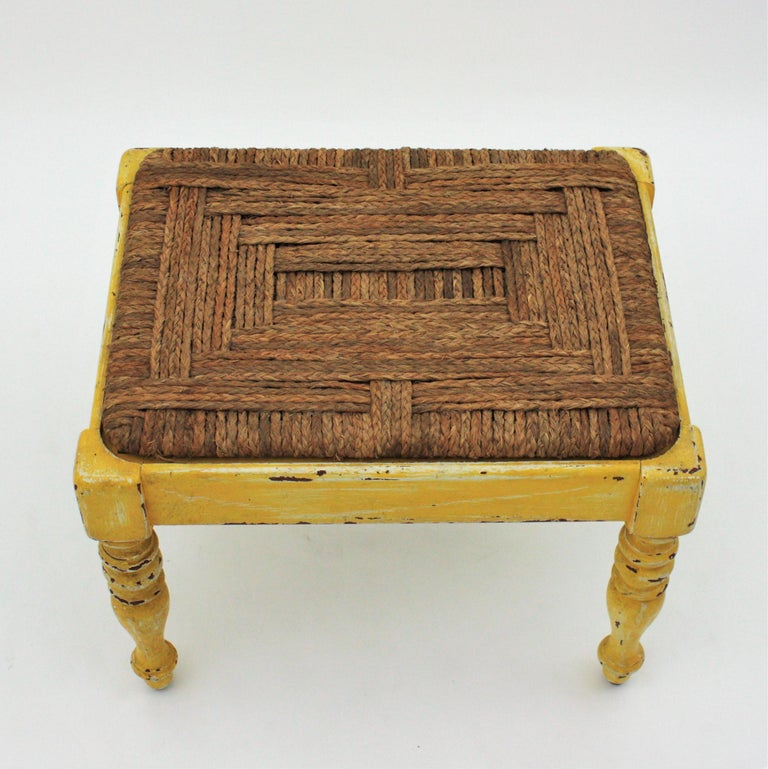 Straw French Rustic Yellow Patinated Wood and Esparto Grass Stool, Bench or Ottoman For Sale