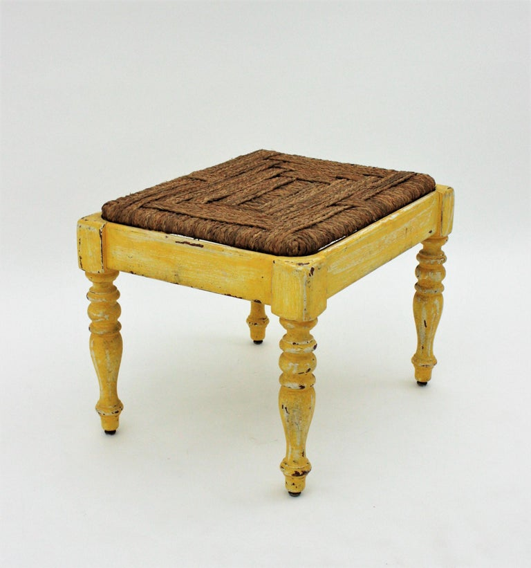 French Rustic Yellow Patinated Wood and Esparto Grass Stool, Bench or Ottoman For Sale 4