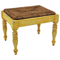 French Rustic Yellow Patinated Wood and Esparto Grass Stool, Bench or Ottoman