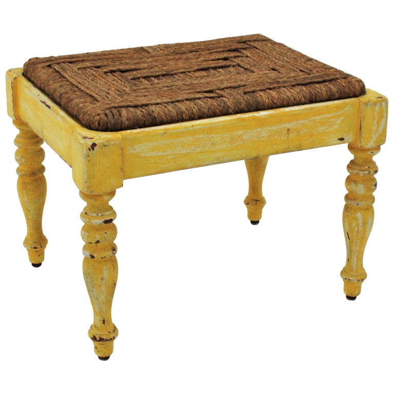 French Rustic Yellow Patinated Wood and Esparto Grass Stool, Bench or Ottoman For Sale